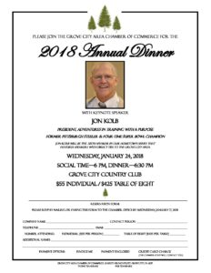 2018 Grove City Chamber Annual Dinner @ Grove City Country Club | Grove City | Pennsylvania | United States
